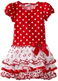 Red and White Multi Tiers Dress