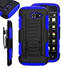 AT&T Tribute / Fusion 3 Case iWIRE® AT&T Tribute / Fusion 3 (HUAWEI Y536A1) GoPhone IROB Blue Rugged Impact Armor Hybrid Kickstand Cover with Belt Clip Holster Case + iWIRE® Touch Screen Pen