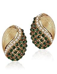 Shining Diva Golden And Green Beaded Ear Stud For Women