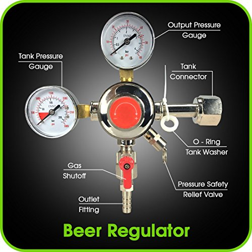 Co2 Beer Regulator Dual Gauge Draft Beer Dispensing Kegerator Heavy Duty 0 to 60 PSI - 0 to 3000 Tank Pressure CGA-320 Inlet Connection with 3/8