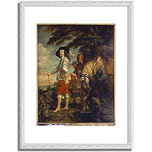 アンソニー・ヴァン・ダイク「狩り場のチャールズ1世 Charles I. of England during a hunting excursion. About 1635. 」 インテリア アート 絵画 プリント 額装作品 フレーム:装飾(白) サイズ:L (412mm X 527mm)