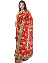 Exotic India Tango-Red Sari With Metallic Thread Embroidered Flowers And P - Red