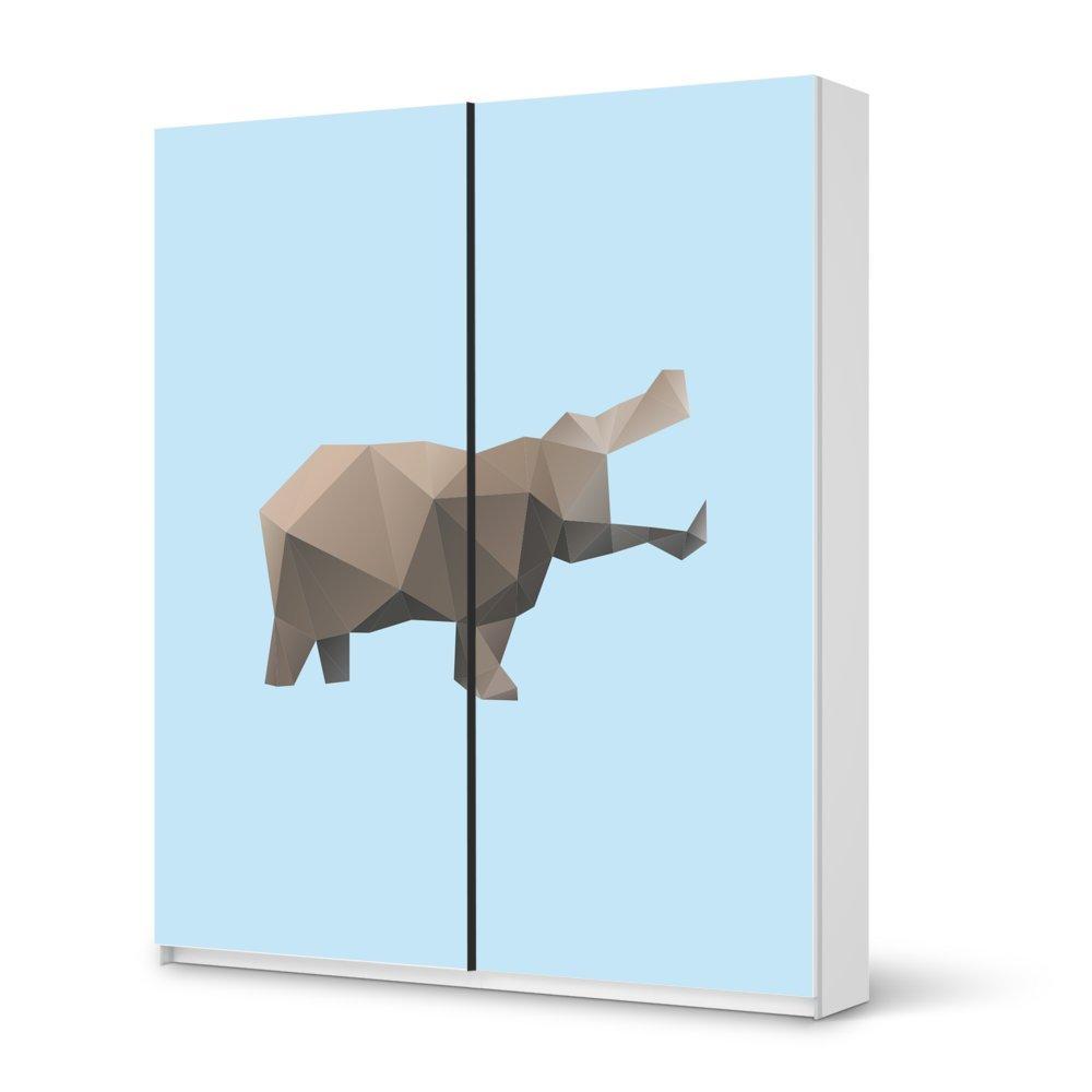Folie IKEA Pax Schrank 236 cm Höhe – Schiebetür / Design Aufkleber Origami Hippo / Dekorationselement jetzt kaufen
