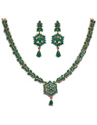 Hand Crafted Emerald Color Stone Studded Necklace & Earrings Set