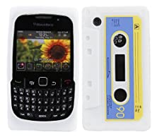 buy Italkonline Softskin Cassette Tape Retro White Blue Yellow Super Hydro Silicone Protective Armour/Case/Skin/Cover/Shell For Blackberry 8520 Curve, 9300 3G
