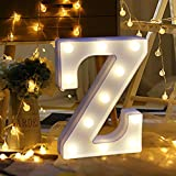 Hoshell Warm White Alphabet LED Letter Lights Light Up White Plastic Letters Standing Hanging A-M & (Z)