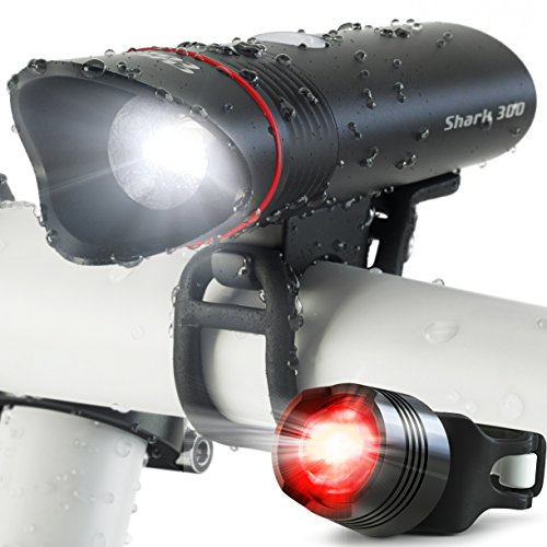 SUPER BRIGHT USB Rechargeable Bike Light- Cycle Torch Shark 300 Bicycle HeadLight- TAIL LIGHT Included- 300 Lumens LED Front Light, Fits ALL Bikes, Quick Release Flashlight Set (Black) (Mountain Bike Gary Fisher compare prices)