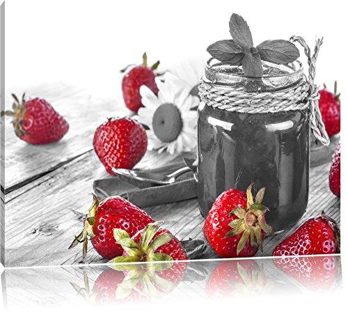 fraises fruitées devant pot de confiture noir / blanc Taille: 80x60 sur toile, XXL énormes Photos complètement encadrées avec civière, impression d'art sur murale avec cadre, moins cher que la peinture ou la peinture à l'huile, pas une affiche ou une bannière,