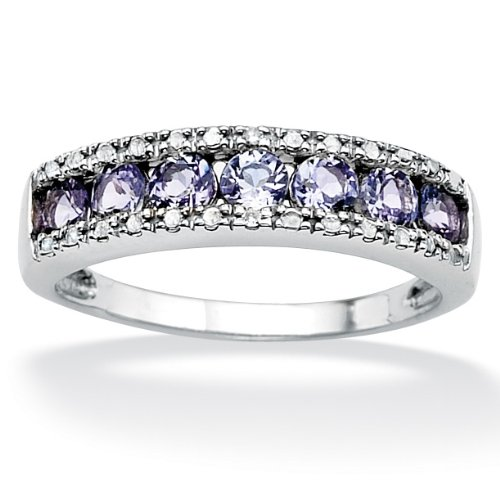 Lux Platinum over Sterling Silver Tanzanite and Diamond Accent Ring Size 8