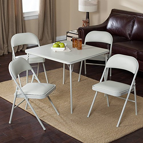 Meco Sudden Comfort Deluxe Double Padded Chair and Back - 5 Piece Card Table Set - Grey Dream (Padded Folding Table compare prices)