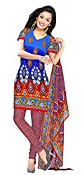 Atisundar Women Faux Georgette Dress Material (5654_46_6179 _Blue And Red _4)