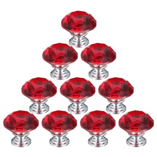 Tojoy 10Pcs 30Mm Crystal Glass Diamond Shape Cabinet Knob Cupboard Drawer Pull Handle (Red) front-658070