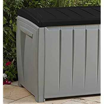 Keter Novel Plastic Deck Storage Container Box Outdoor Patio Garden Furniture 90 Gal, Black