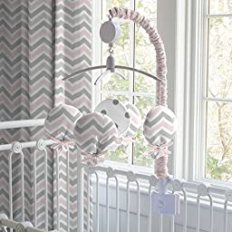 Carousel Designs Pink and Gray Chevron Mobile