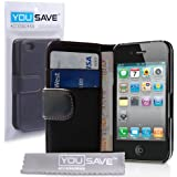 Case For The iPhone 4S 4 Siri Leather Wallet Flip Cover With Free Screen Protector From Yousave Accessories