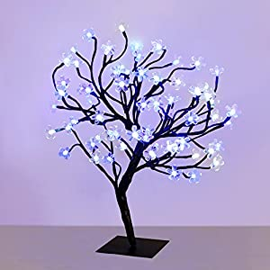 45cm Decorative Cherry Blossom Bonsai Style Tree Table Lamp Light With 72 Glorious LED's - 36 Cool White / 36 Blue