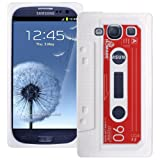 White Retro Tape Cassette SuperTUFF Silicone XYLO-Skin Case Cover for the Samsung Galaxy S3 SIII i9300 Mobile Phone.