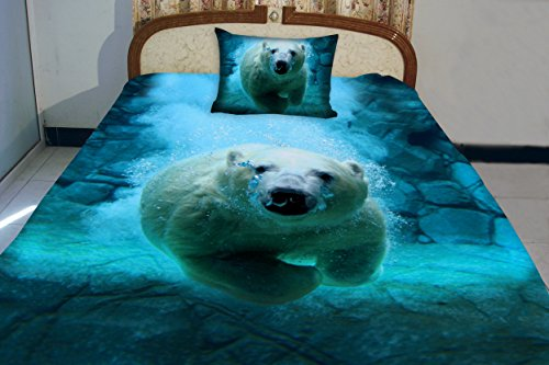 Anlye Nautical Bedding Set 2 Sides Printing 3D Visual Desiger Of The White Polar Bear Swim Blue Ocean Coverlet With 2 Silk-Like Pillow Cases Full front-539797