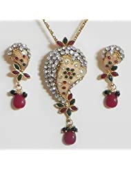 White Stone Studded Laquered Pendant With Earrings - Stone And Metal
