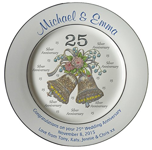 Personalized Bone China Commemorative Plate For A 25th Wedding Anniversary - Wedding Bells Design With 2 Silver Bands