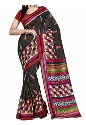 Bansy Fashion Black Coloured Bhagalpuri Silk Printed Saree