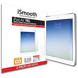 Apple iPad Air (Apple iPad 5) Screen Protector - NEW 2014 Ultra Premium HD Version - 2 PACK Ultra Clear - iSmooth - Lifetime Guarantee - Designed for Apple iPad Air - FREE Replacement For Damaged Protectors - Guaranteed Bubble Free Installation