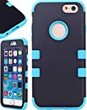 myLife Light Bright Blue and Black {Bright Colored Hybrid Design} Neo Hybrid Armor Case for the NEW iPhone 6 (6G) 6th Generation Phone by Apple, 4.7