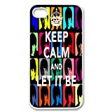 Apple iPhone 4 4G 4S Keep Calm and Let it Be The Beatles Design WHITE Sides Case Skin Cover Protector Accessory Vintage Retro Unique Comes in Case Cartel Packaging