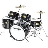 Mendini MJDS-5-BK Complete 16-Inch 5-Piece Black Junior Drum Set with Cymbals, Drumsticks and Adjustable Throne