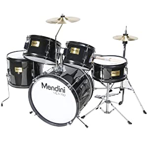 Mendini MJDS-5-BK Complete 16-Inch 5-Piece Black Junior Drum Set with Cymbals, Drumsticks and Adjustable Throne