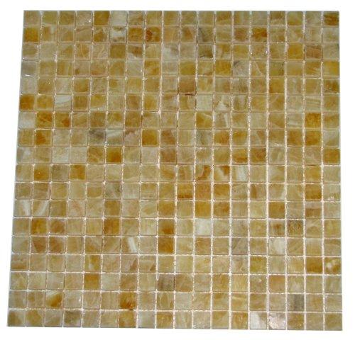 "5/8 x 5/8 Premium Quality Honey Onyx Polished Mosaics Meshed on 12"" X 12"" Sheet for Backsplash, Shower Walls, Bathroom Floors"