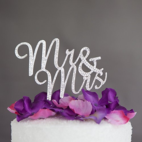 Mr & Mrs Wedding Cake Toppers, Monogram Letters Decorations for Cakes (silver)