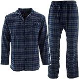 Bottoms Out Men's Charcoal Blue Plaid Flannel Pajama Set