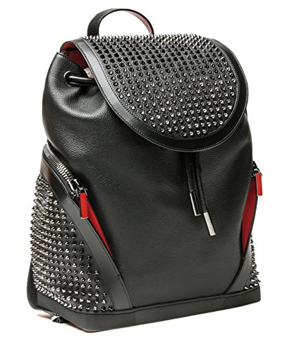 wiberlux-christian-louboutin-womens-stud-detailed-top-flap-real-leather-backpack-one-size-black