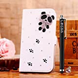 Locaa(TM) For LG Optimus L50 LGL50 3D Bling Case + Phone stylus + Anti-dust ear plug Deluxe Luxury Crystal Pearl Diamond Rhinestone eye-catching Beautiful Leather Retro Support bumper Cover Card Holder Wallet Cases - [General series] cute panda