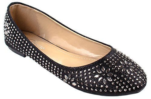 Forever Shoes Women's Lancey-23 Slip On Flats with Rhinestone and Rhinestone Studs