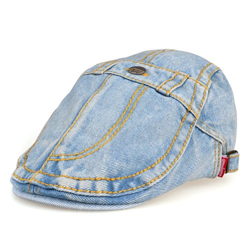 LOCOMO Blue Washed Jeans Denim Fabric Button Fake Pocket Flat Cap FFH118LBLU Apparel Accessories ...