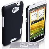 Yousave Accessories HT-DA01-Z947 Pack de Coque + Protection d'écran pour HTC One X Blanc/Noir