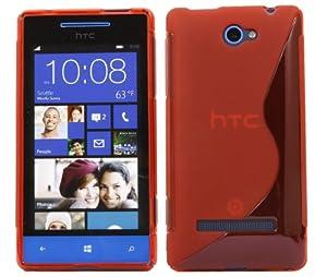 iTALKonline HTC Windows Phone 8S Slim Grip S-Line TPU Gel Case Soft Skin Cover - Red
