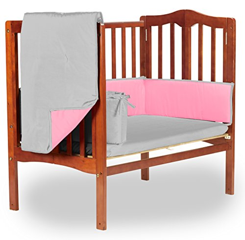 Baby Doll Reversible Port-a-Crib Bedding, Grey/Pink
