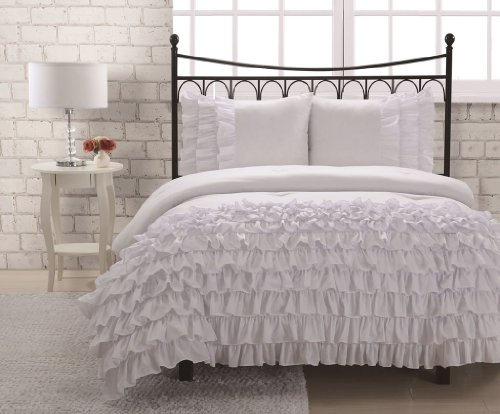 Full Miley Mini Ruffle Comforter Set, White