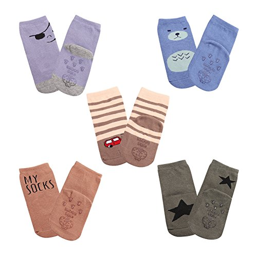 Meaiguo Anti Non Skid Slip Baby Toddler Socks with Grips for Boys Girls 5 Pack(Thin Small)