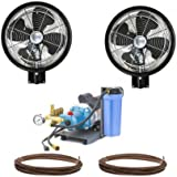 "2 HIGH PRESSURE - 18"" Oscillating Misting Fan Wall Mount Mist Kit"