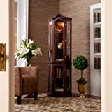 Corner Curio Cabinet with Mahogany Finish, Mirror Back