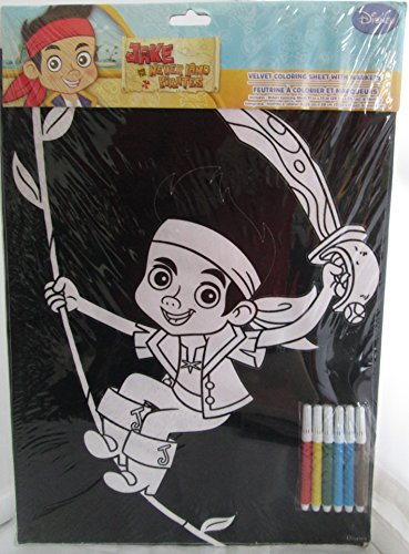 Jake and the Never Land Pirates Velvet Coloring Sheet with Makers - 1