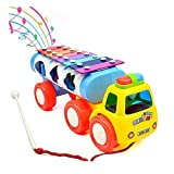 YIXIN 8 Notes Tap-a-tune Glockenspiel Knock Piano Pull Along Train Truck Toy with Shape Sorter for Early Learning for 3 Year Old Kids Color Random Delivery