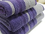 Pintuck Stripe Egyptian Cotton Towel, Bath Sheet 600 gsm Purple Luxury Designer Towels