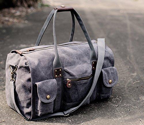 Aidonger-Unisex-Canvas-und-Leder-Grorumige-Schultertasche-Reisetasche-Weekender