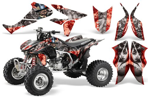 2004-2015-Honda-TRX450R-AMRRACING-ATV-Graphics-Decal-Kit-MadHatter-Silver-Red