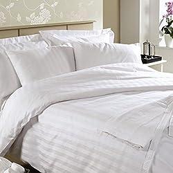 Linenwalas 300 TC Single Bed Stripes Cotton Quilt Cover -White Stripes